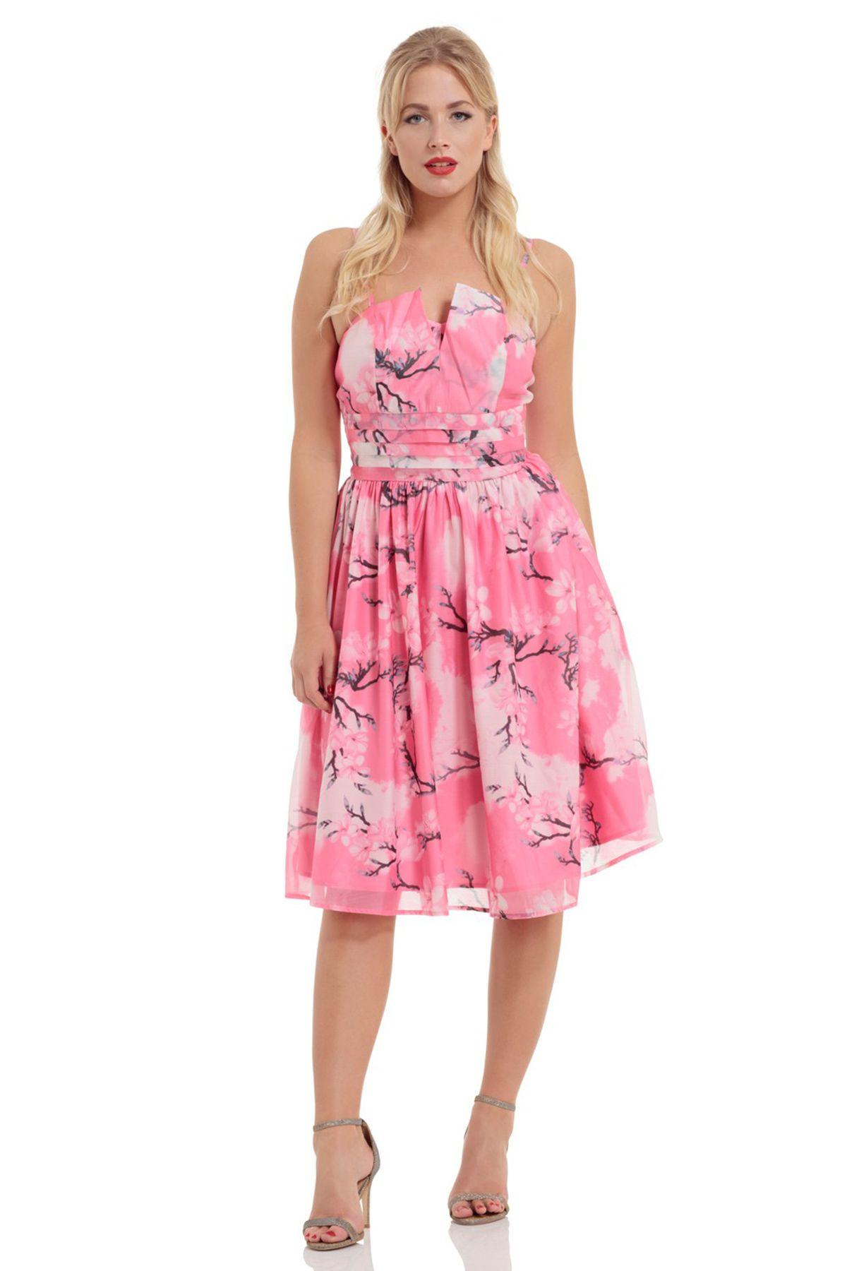 7528e1c63a30 Ροζ Φλοράλ Φόρεμα - London Βoutique