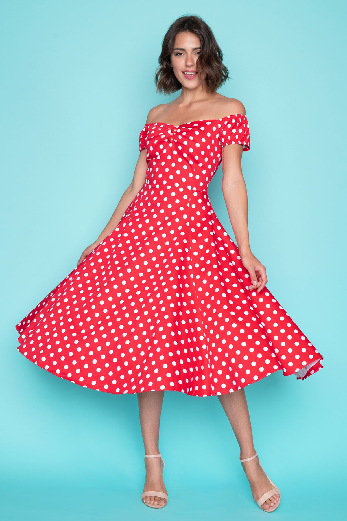 b5b2c351588 Κόκκινο Πουά Midi Φόρεμα