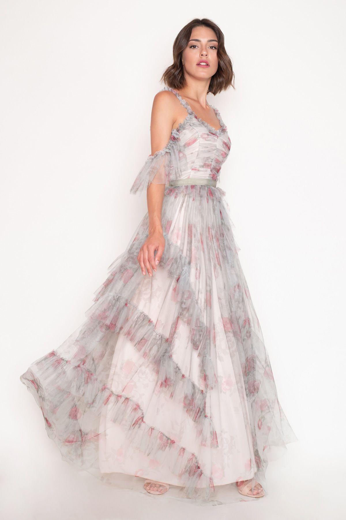 f09cc8a8047 Μακρύ Τούλινο Λαδί Φόρεμα