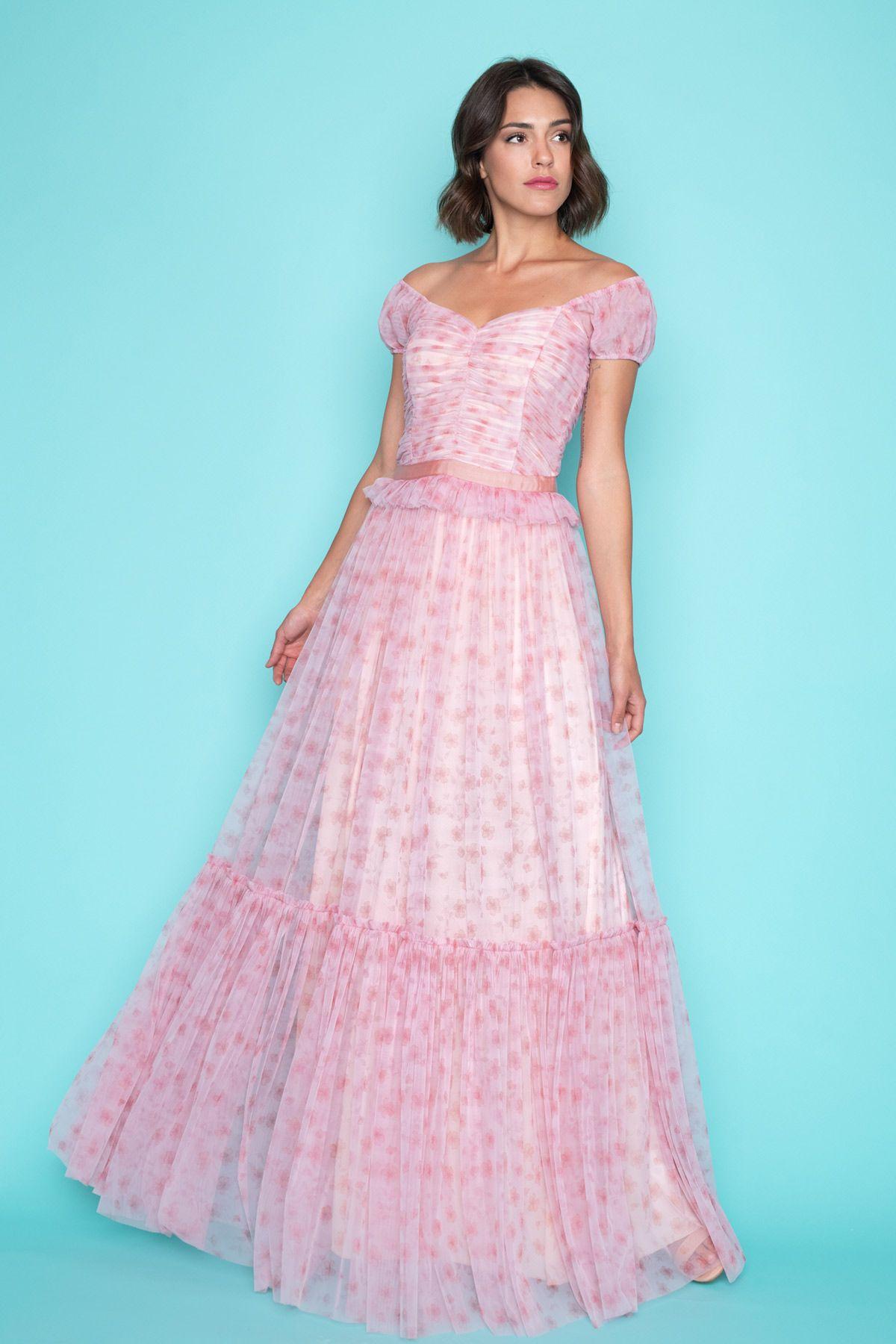 a22079703dd Μεσάτο Ροζ Maxi Φόρεμα