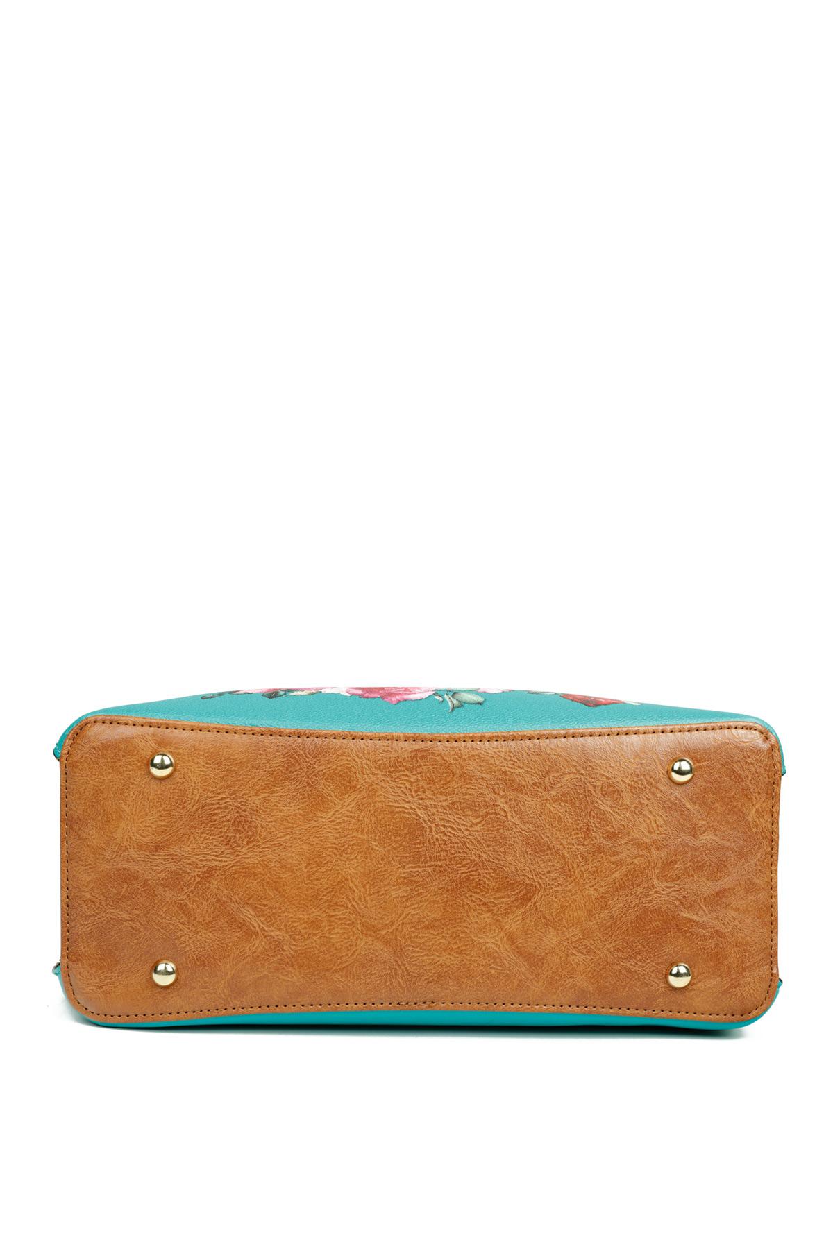 Ρετρό τσάντα σε βαθύ μπλε χρώμα, με φλοράλ σχέδιο και κοντό και μακρύ λουράκι για να την κρατήσετε από το πρωί μέχρι το βράδυ!