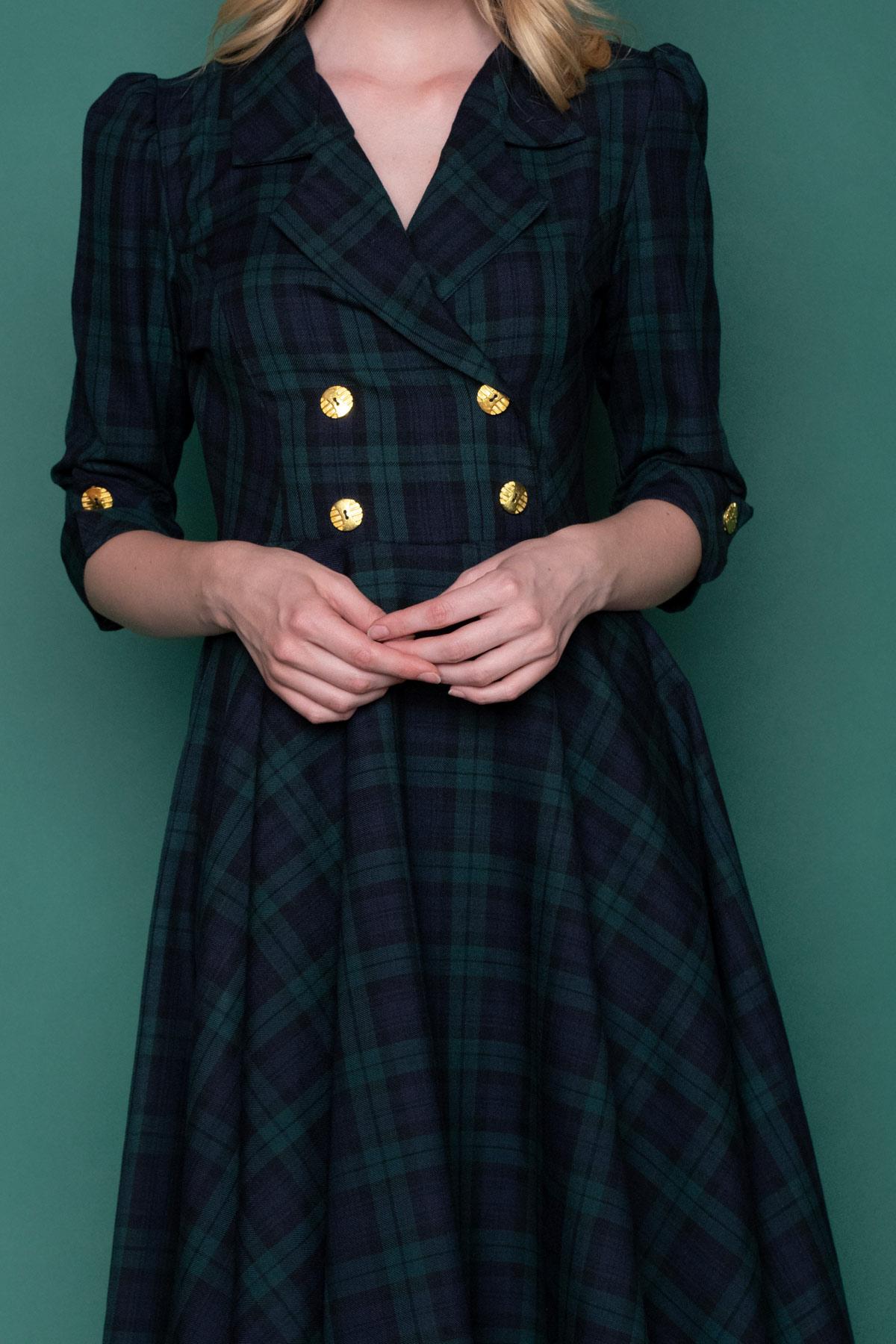 Ρετρό καρό μίντι φόρεμα, σε μπλε & πράσινο χρώμα, με 3/4 μανίκια και χρυσαφί κουμπιά, για όλες τις ώρες.
